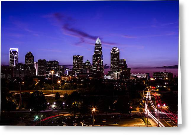Charlotte Time Lapse Dusk Greeting Card by Paul Scolieri