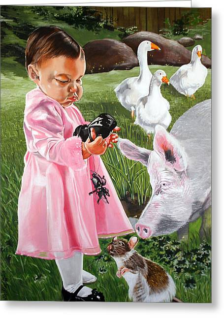 Charlotte Paintings Greeting Cards - Charlottes Web Greeting Card by Belle Massey