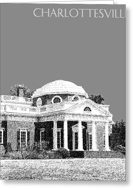 Monticello Greeting Cards - Charlottesville Skyline Monticello - Pewter Greeting Card by DB Artist