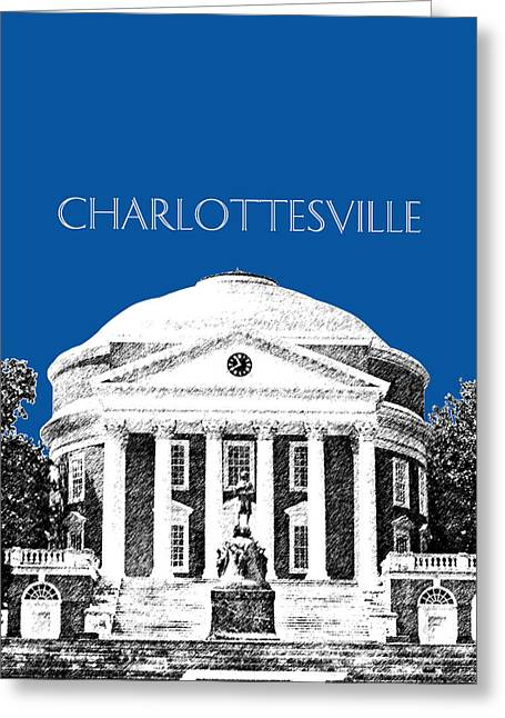 University Of Virginia Greeting Cards - Charlottesville VA Skyline University of Virginia - Royal Blue Greeting Card by DB Artist