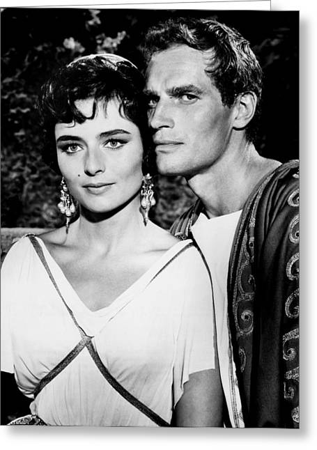 Famous Person Greeting Cards - Charlton Heston and Marina Berti Greeting Card by Mountain Dreams