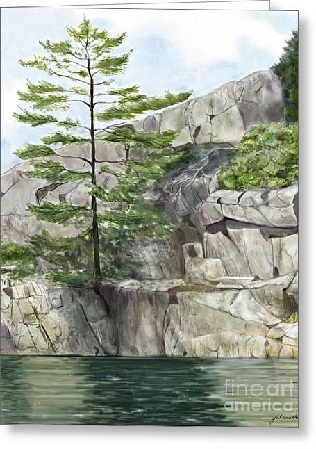Joan A Hamilton Greeting Cards - Charlton Lake Shoreline Greeting Card by Joan A Hamilton