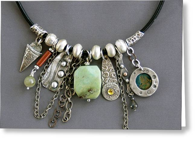 Charm Necklace Jewelry Greeting Cards - Charmed Greeting Card by Mirinda Kossoff