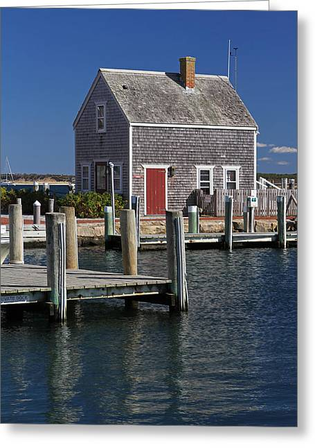 Recently Sold -  - Blue Sailboat Greeting Cards - Charming Edgartown Harbor  Greeting Card by Juergen Roth