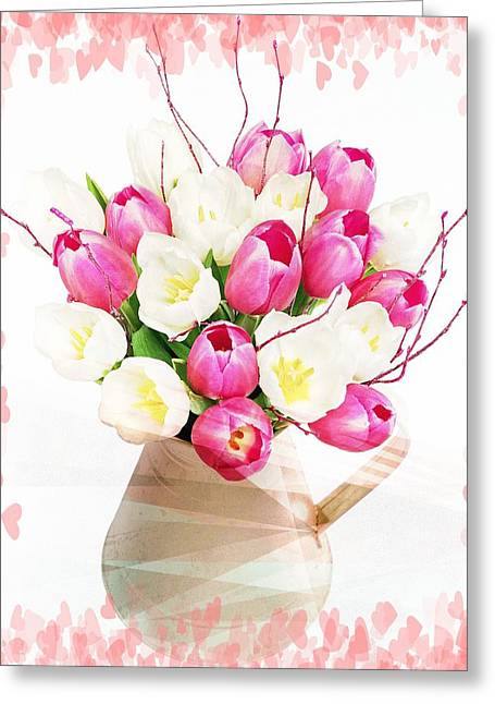 Charming Heart Tulips Greeting Card by Debra  Miller