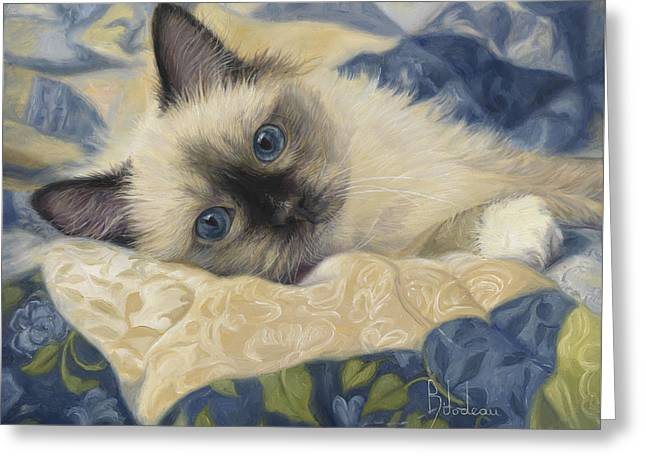Domestic Cat Greeting Cards - Charming Greeting Card by Lucie Bilodeau
