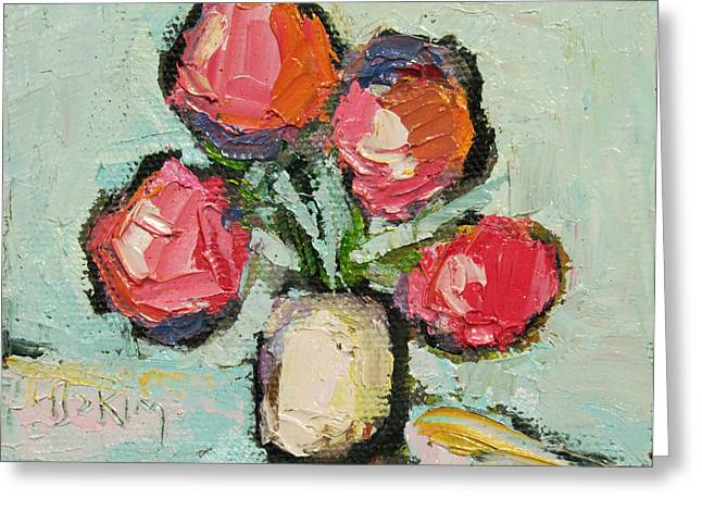 Pallet Knife Greeting Cards - Charming Still life Greeting Card by Becky Kim
