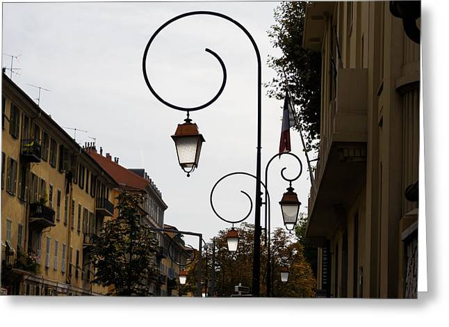 Streetlight Greeting Cards - Charming Streetlamps in Old Town Nice France French Riviera Greeting Card by Georgia Mizuleva