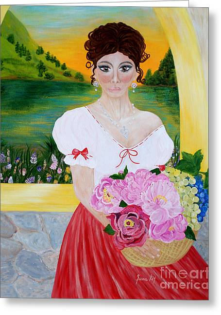 Fruit Tree Art Greeting Cards - Charming Woman. Inspirations Collection. Greeting Card by Oksana Semenchenko