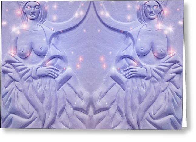 Magic Reliefs Greeting Cards - Two Charming Women Greeting Card by Xueyin Chen