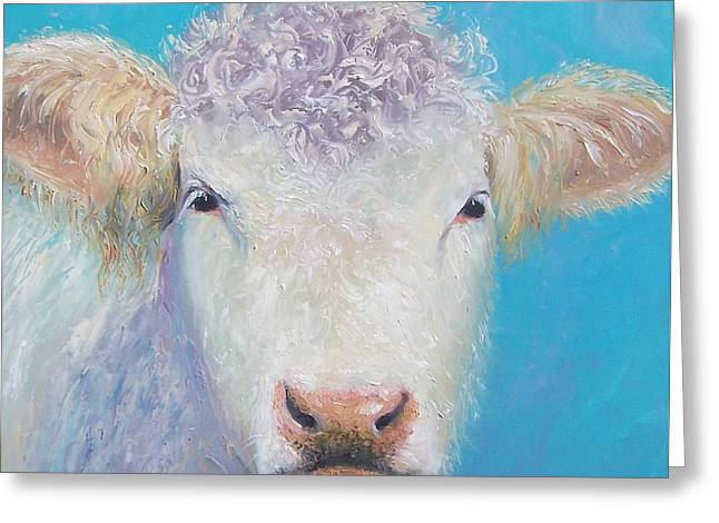 Cow Greeting Cards - Charolais cow painting by Jan Matson Greeting Card by Jan Matson