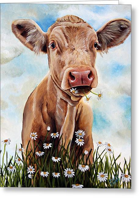 Steer Greeting Cards - Charolais Lunch Greeting Card by Laura Carey