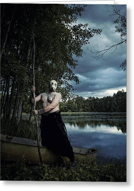 The Big Man Greeting Cards - Charon Greeting Card by Joanna Jankowska