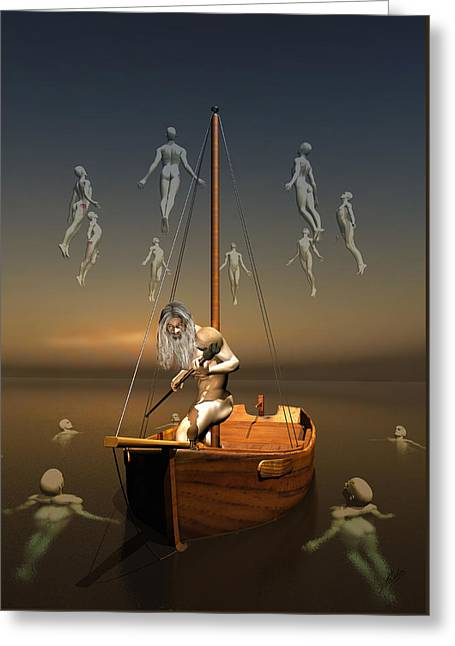 Boatman Greeting Cards - Charon boatman by Quim Abella  Greeting Card by Joaquin Abella