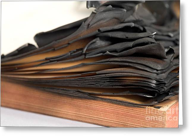 Censored Greeting Cards - Charred Book Pages Greeting Card by Oote Boe