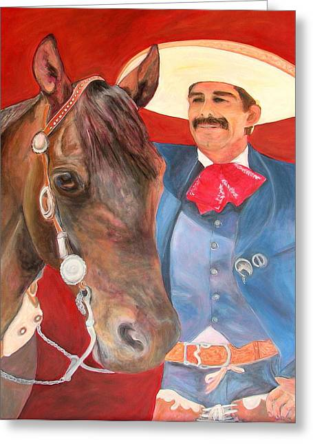 Charro And His Horse Greeting Card by Jodie  Scheller