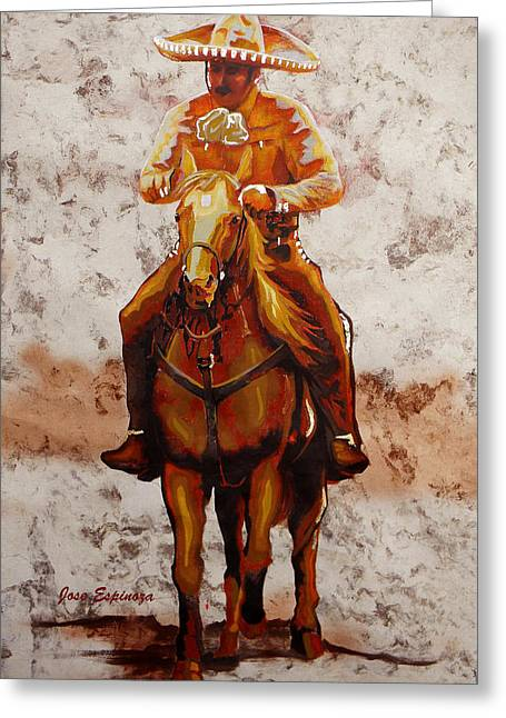 Amate Bark Paper Greeting Cards - Charro Greeting Card by Jose Espinoza