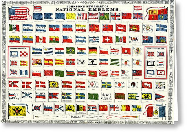 National Drawings Greeting Cards - Chart of National Emblems for Ships 1868 Greeting Card by Mountain Dreams