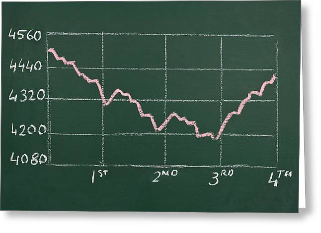 Financial Crisis Greeting Cards - Chart on a Chalkboard Greeting Card by Chevy Fleet