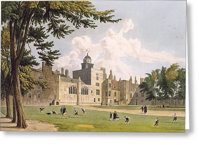 Weathervane Greeting Cards - Charter House From The Play Ground Greeting Card by William Westall