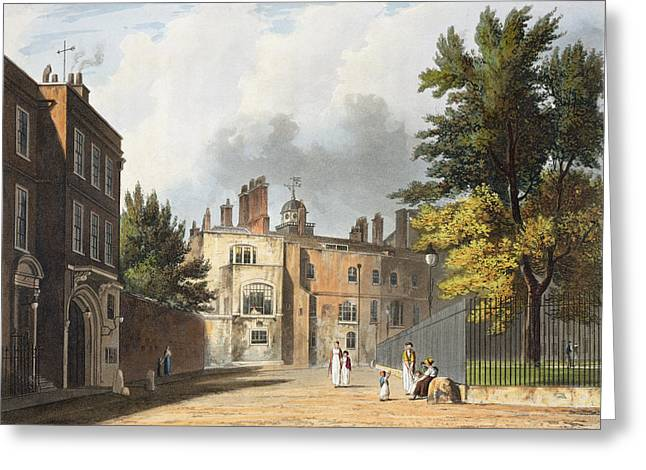 Fence Drawings Greeting Cards - Charter House From The Square Greeting Card by William Westall