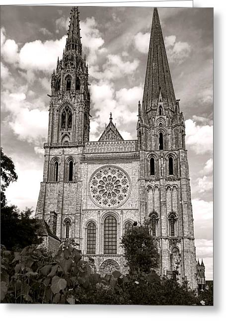 Medieval Buildings Greeting Cards - Chartres Cathedral Greeting Card by Olivier Le Queinec