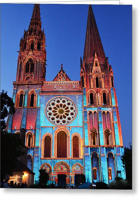 Glass Facade Greeting Cards - Chartres Cathedral with colors Greeting Card by RicardMN Photography