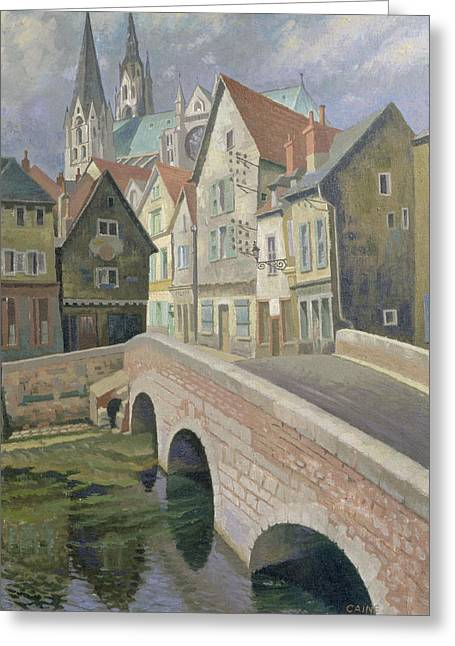 Street Scenes Greeting Cards - Chartres Greeting Card by Osmund Caine