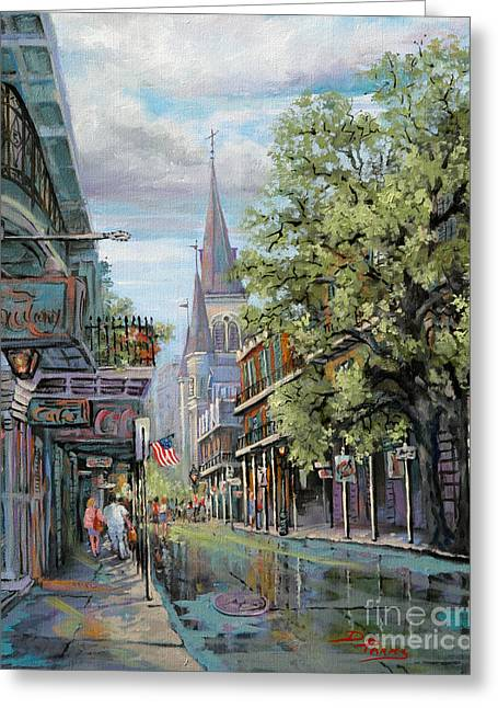 St. Louis Artist Greeting Cards - Chartres Rain Greeting Card by Dianne Parks