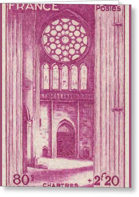 Rosette Paintings Greeting Cards - Chartres Stamp Greeting Card by Lanjee Chee