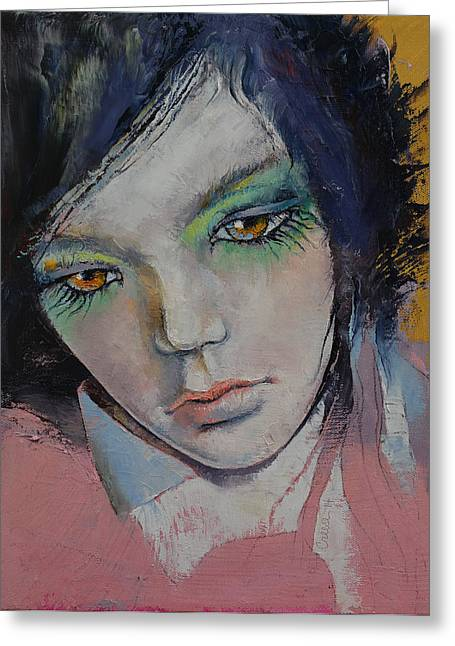 Anime Greeting Cards - Chartreuse Greeting Card by Michael Creese