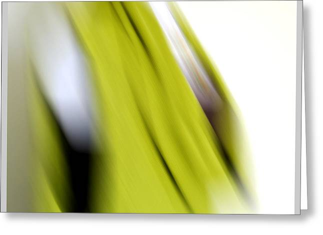 Clothing Tapestries - Textiles Greeting Cards - Chartreuse Tunic Blur Greeting Card by Gretchen Wrede
