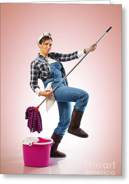 Housework Greeting Cards - Charwoman on Pink Greeting Card by Carlos Caetano
