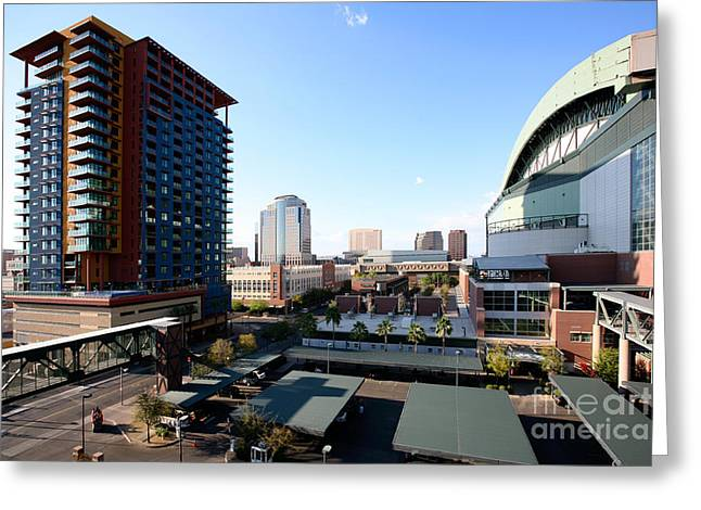 Baseball Stadiums Greeting Cards - Chase Field Phoenix Greeting Card by Bill Cobb