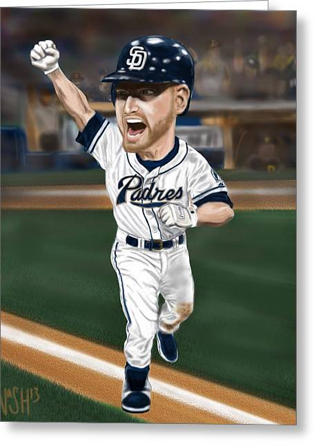 Walk Off Greeting Cards - Chase Headley Greeting Card by Jeremy Nash