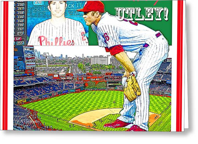 Chase Utley Poster Utterly Utley Greeting Card by A Gurmankin