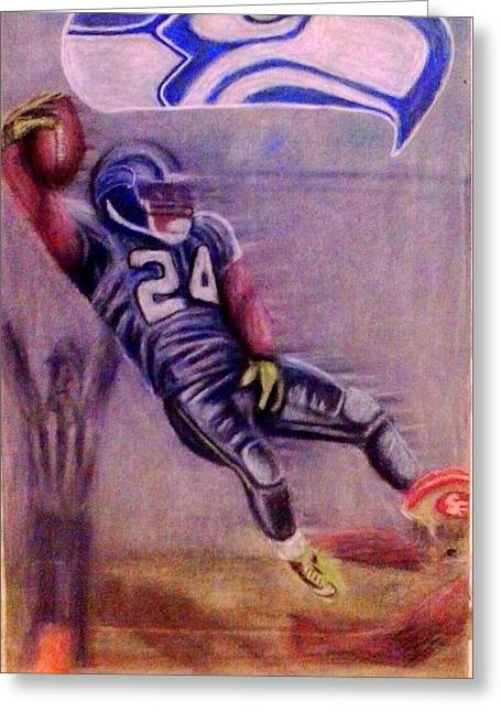 Football Pastels Greeting Cards - Chasin Vapors feat. Beastmode Greeting Card by D Rogale