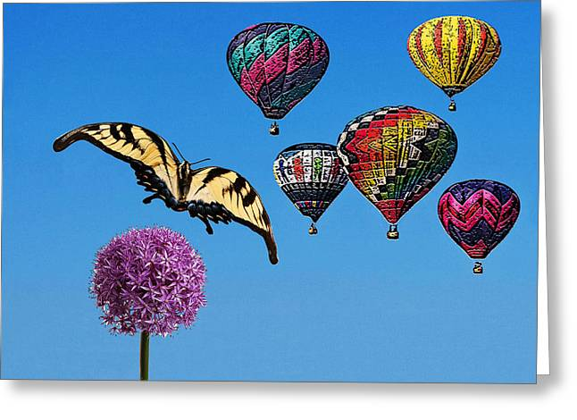 Balloon Flower Digital Art Greeting Cards - Chasing Flowers Greeting Card by Bruce Iorio