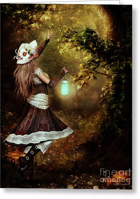 Fairies Art Greeting Cards - Chasing Magic Greeting Card by Shanina Conway