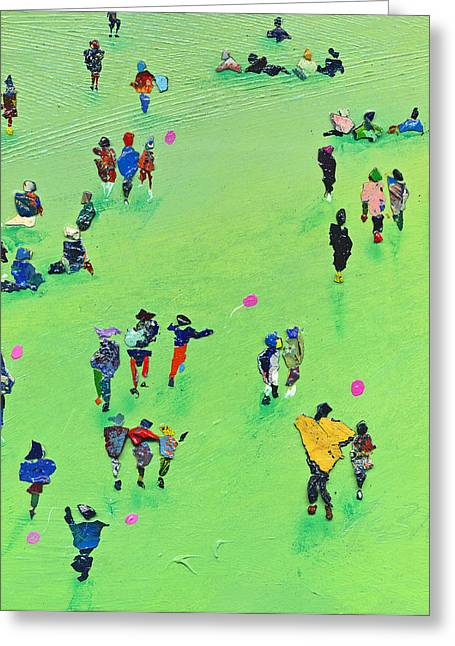 Colour Greeting Cards - Chasing the Pink Balloon Greeting Card by Neil McBride