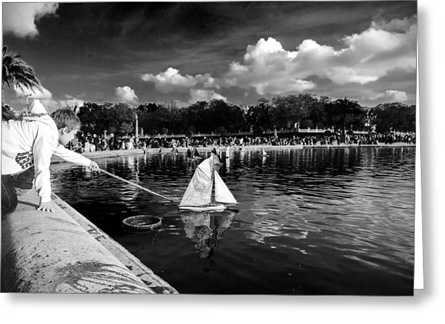 Toy Boat Greeting Cards - Chasing the wind Greeting Card by Jonas Leonas