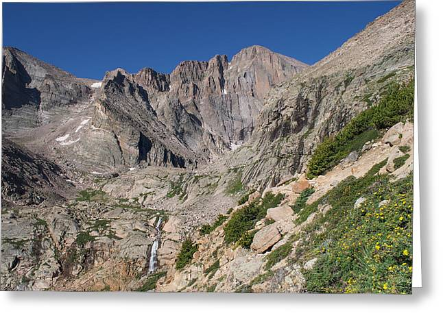 Chasm Lake Greeting Cards - Chasm Lake Junction and Longs Peak Greeting Card by Aaron Spong