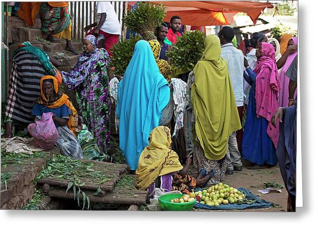 Chat Being Sold At A Market Near Harar Greeting Card by Tony Camacho