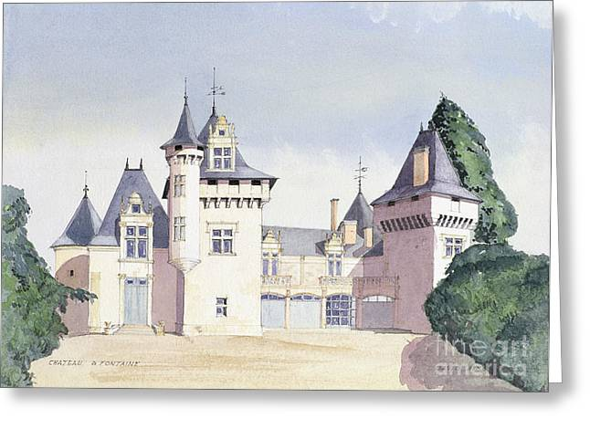 Chateau Greeting Cards - Chateau a Fontaine Greeting Card by David Herbert