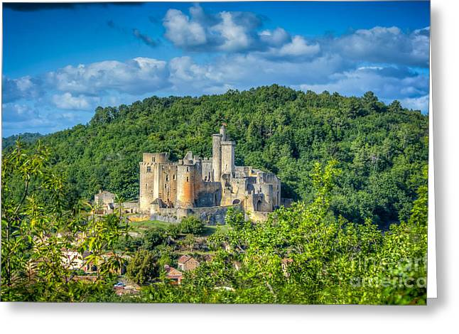 """south West France"" Greeting Cards - Chateau Bonaguil Greeting Card by Tony Priestley"