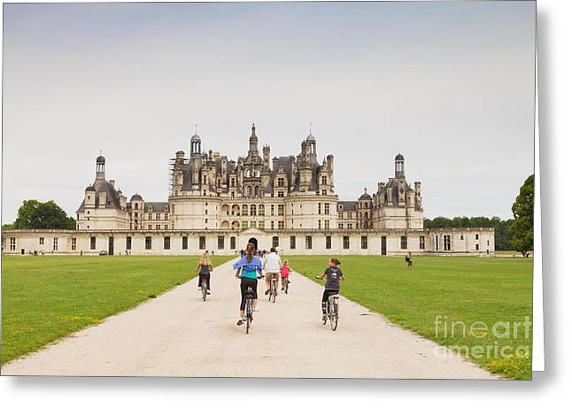 Centre Greeting Cards - Chateau Chambord and Cyclists Greeting Card by Colin and Linda McKie
