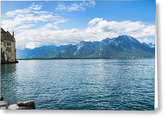 Chillon Greeting Cards - Chateau Chillon on the shore of Lake Geneva near Montreux Switz Greeting Card by Oscar Gutierrez