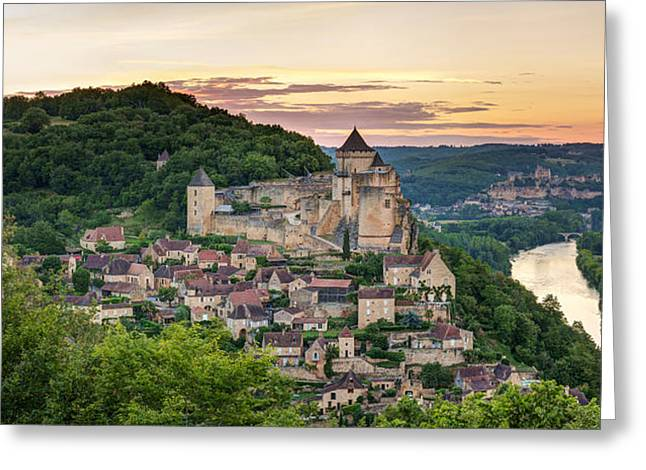 Chateau Greeting Cards - Chateau De Castelnaud Castle Greeting Card by Panoramic Images