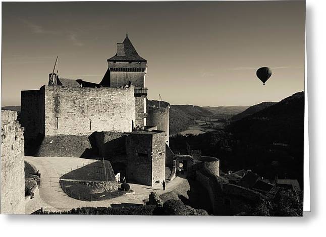 Mid-air Greeting Cards - Chateau De Castelnaud With Hot Air Greeting Card by Panoramic Images