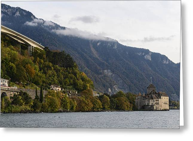 Chillon Greeting Cards - Chateau de Chillon Greeting Card by Brandon Bourdages